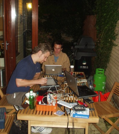 Tom and Rob hacking hard in to the night!